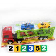6836熱銷慣性雙層拖車 帶四輛迷你小汽車 兒童玩具車批發