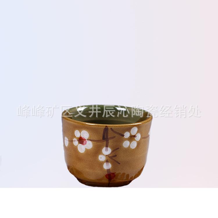 厂家直销日式复古餐具日用土瓷杯批发手绘陶瓷餐具酒杯?#39057;?#38518;瓷杯