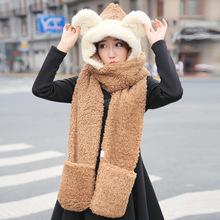 冬季帽子围巾手套三件套装 时尚加厚羊驼绒皮草女保暖可爱围脖