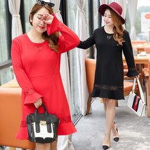 Direct supply to fat sister plus fertilizer XL women's autumn and winter plus velvet thickening dress 0396