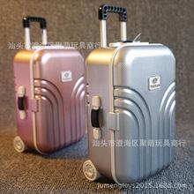 旅行箱音乐盒 上链珠宝首饰收纳梳妆盒 带镜子仿真行李箱八音盒