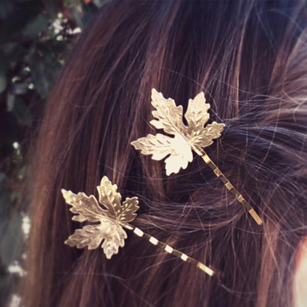 新款树叶发夹 唯美枫叶一字夹边夹  欧美风外贸女生发饰批发