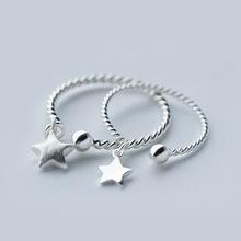 925银戒指时尚麻花星星戒指指环批发开口可调节尾戒关节戒J764