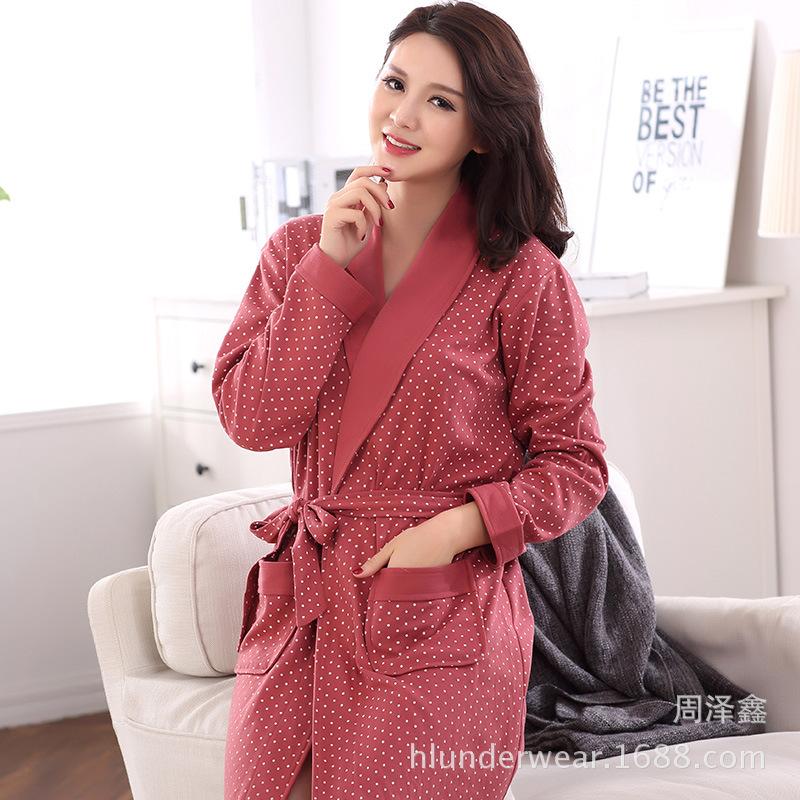 厂家直销春秋季新款女士长袖睡袍可爱波点图案的加肥加大睡袍批发