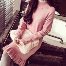 冬韓版甜美釘珠蕾絲拼接荷葉邊修身長袖毛衣針織打底連衣裙