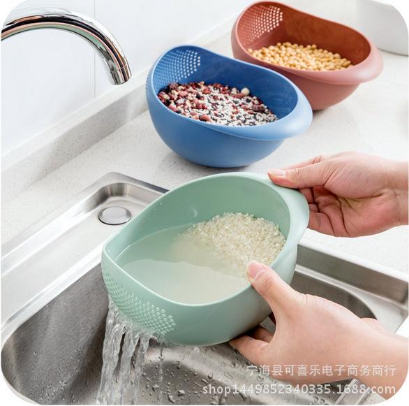 加厚315克大号带TPR防滑底厨房淘米器沥水篮洗菜篮洗米筛沥水篮