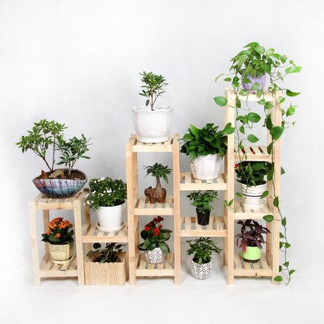 金斧子正品实木组合花架子木质落地多层花盆架阳台客厅室内花架