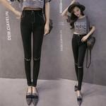 Quần jeans nữ thời trang, trơn màu cá tính, thiết kế hiện đại