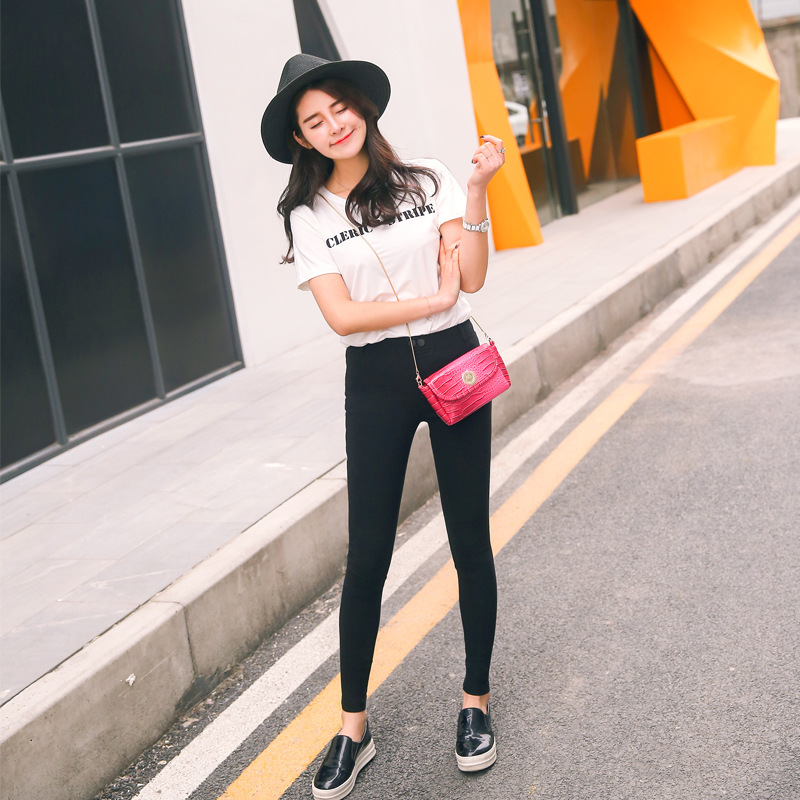 [ 615 ]spring and autumn new pattern Large Leggings black Pencil Pants pencil trousers On behalf of