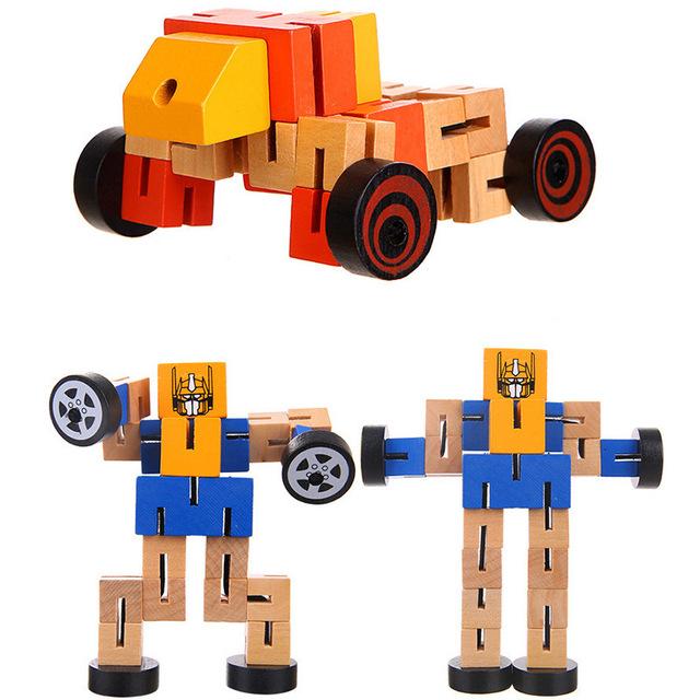 Xe gỗ đa chức năng người gỗ ba chiều xây dựng khối robot đồ chơi giáo dục trẻ em bán buôn Mô hình robot