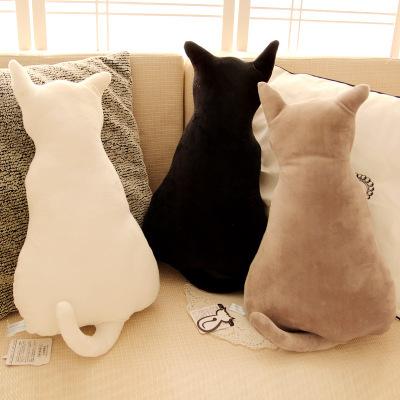 毛绒玩具创意 背影猫抱枕猫咪咖啡厅办公室沙发大号靠垫 一件代发