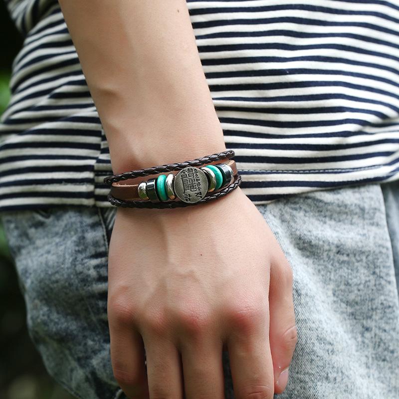 Jewelry Buckle Woven Leather Bracelet Popular Bracelet Jewelry Leather Bracelet NHPK182396