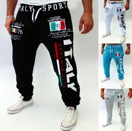 Foreign trade men's letter digital printing casual pants fashion men's small foot Harem Pants men's legged sports pants