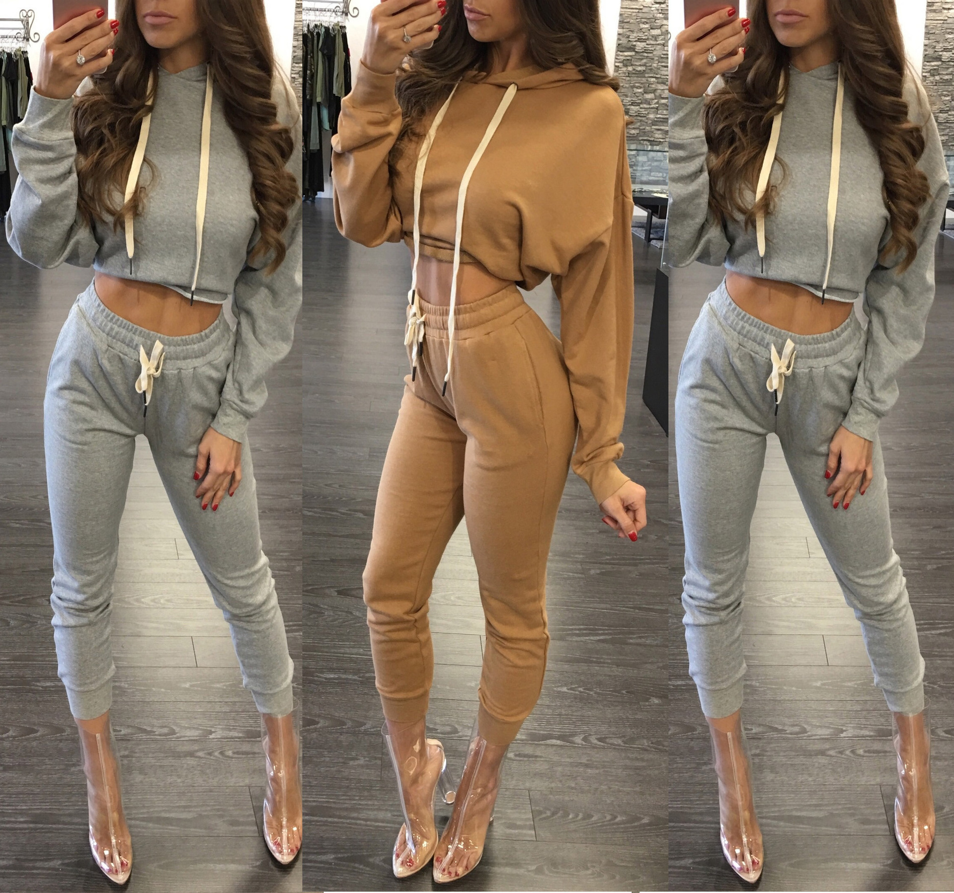 cd7120e5572b 2019 Hooded Tracksuits Women Pocket Track Suits Lycra Solid Long ...