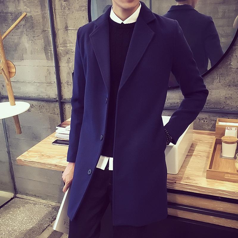 2018年秋冬新款男士翻领毛呢中长款风衣 男式修身三粒扣修身大衣