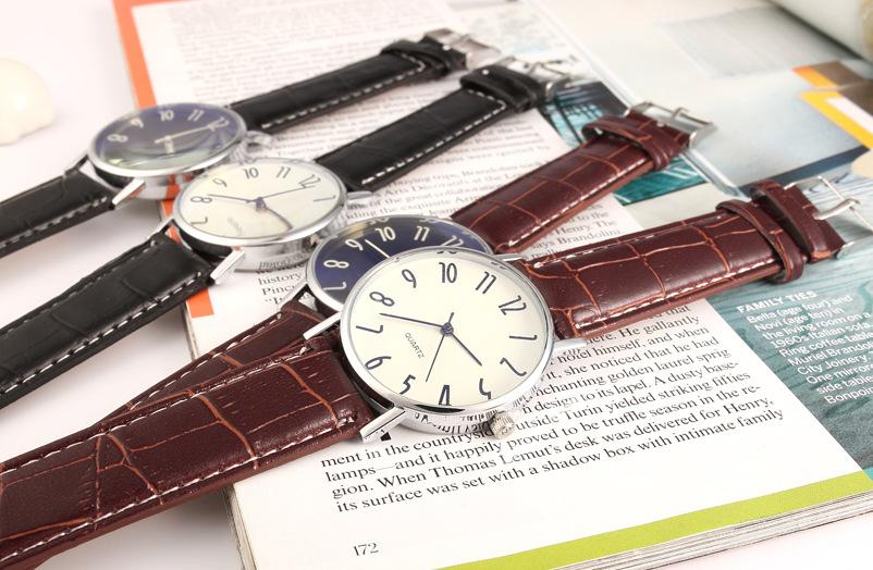 Leisure Quartz glass mirrorMen s watch (Brown belt blue dial)NHMM2054-Brown belt blue dial