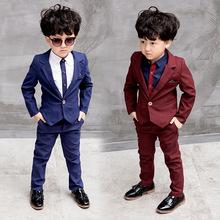 儿童西服男三件套新款小西装男童休闲套装秋装孩童中大童花童礼服