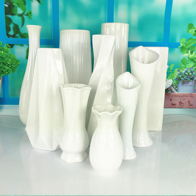 批发干花陶瓷花瓶摆件白色简约 欧式创意家居软装花器套装工艺品