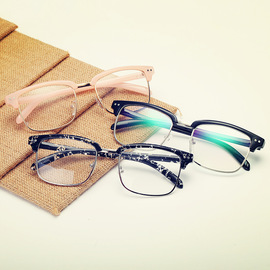 Retro flat lens male and female half-frame spectacle frame 8930