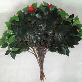 厂家直销仿真植物红梗山茶花枝插花装饰园林景观家居布置干花枝叶