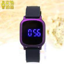 方形藍燈新款觸屏電子手表韓版潮男女果凍led夜光運動學生手表