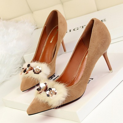 1025-2 han edition sexy show thin suede shoes high heel with shallow mouth tines diamond sequins rabbit maomao shoes