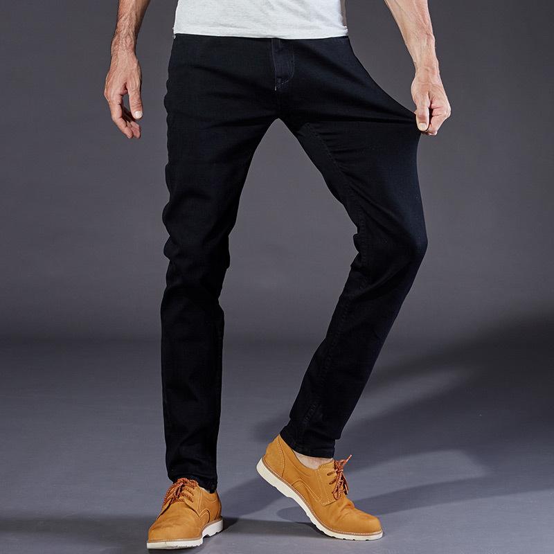 欧美外贸大码牛仔裤男黑色修身Big Size Men Skinny Black Jeans