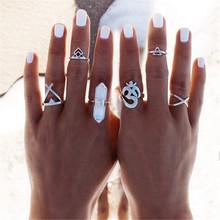 欧美波希米亚风夸张首饰套装 水晶宝石开口戒指 六件套女饰品