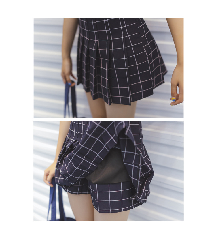 3133905129 134452333 - FREE SHIPPING High Waist Plaid Pleated Skirt JKP234