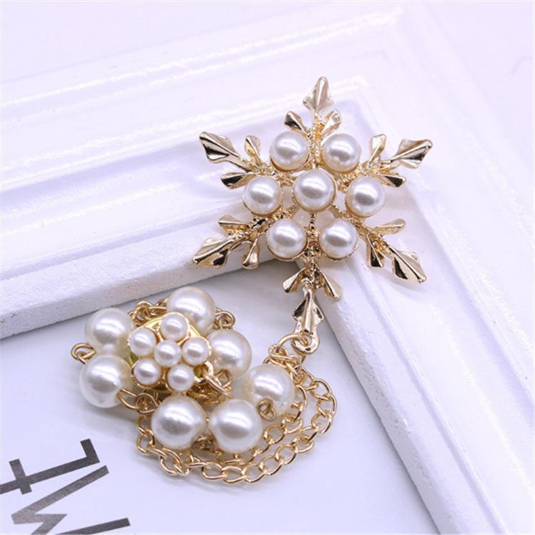 韩版时尚衣饰配饰 精致雪花流苏胸针 珍珠链条胸花 西装配饰品