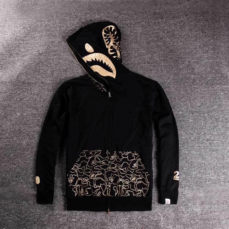 2018秋冬男士连帽外套青少年个性烫金印花鲨鱼薄款开衫卫衣