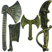 万圣节兵器场景装备表演道具儿童仿真塑料玩具古铜色骷髅武器系列