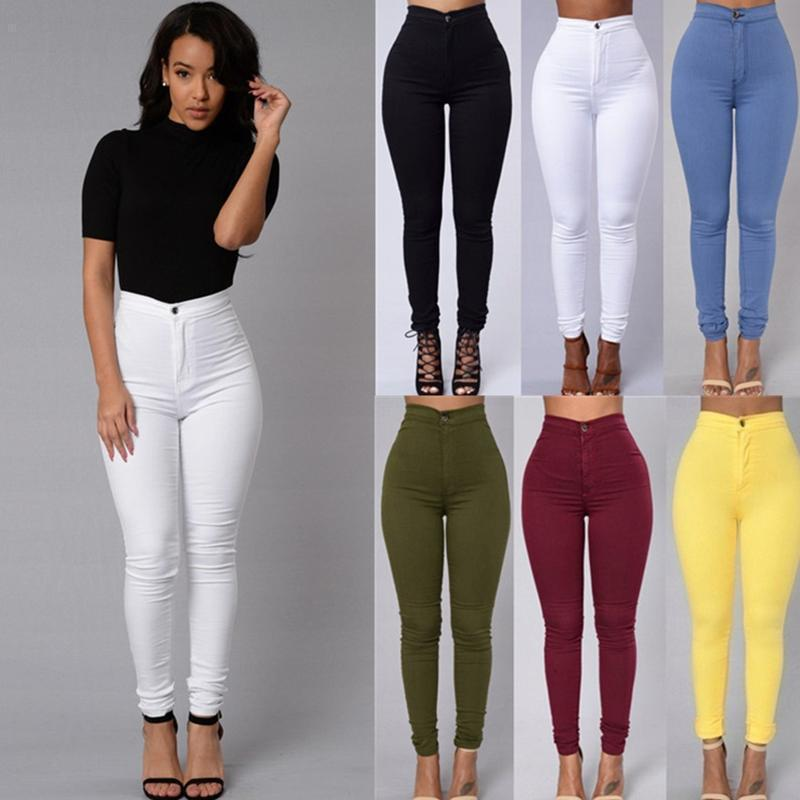ac205677e410f 2019 New Women S Trousers Fashion Candy Color Skinny Pants High ...