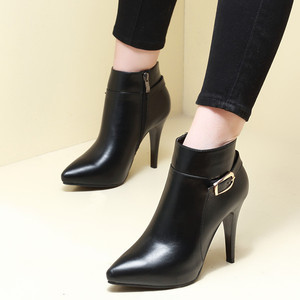 European sexy pointed belt buckle ultra female fashion with short boots joker black fine with female boots Martin boots