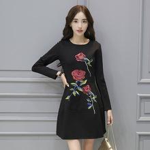 杭派精品2016年秋季新款女装韩版修身显瘦刺绣长袖连衣裙现货批发
