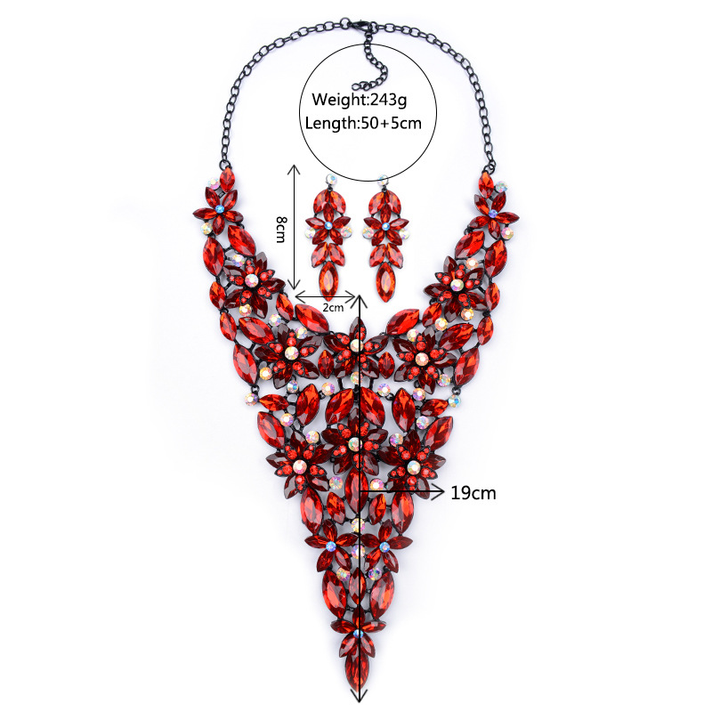 Occident and the United States alloy Inlaid stones necklace (Crystal color)NHYT0414-Crystal color