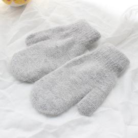 Ladies' rabbit hair gloves smooth plate thickened cashmere knitted DIY gloves parent-child plush warm gloves