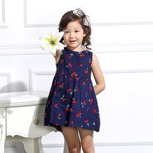春夏新品 女童親子裝印花綁繩韓版 全棉高端精品無袖背心童連衣裙