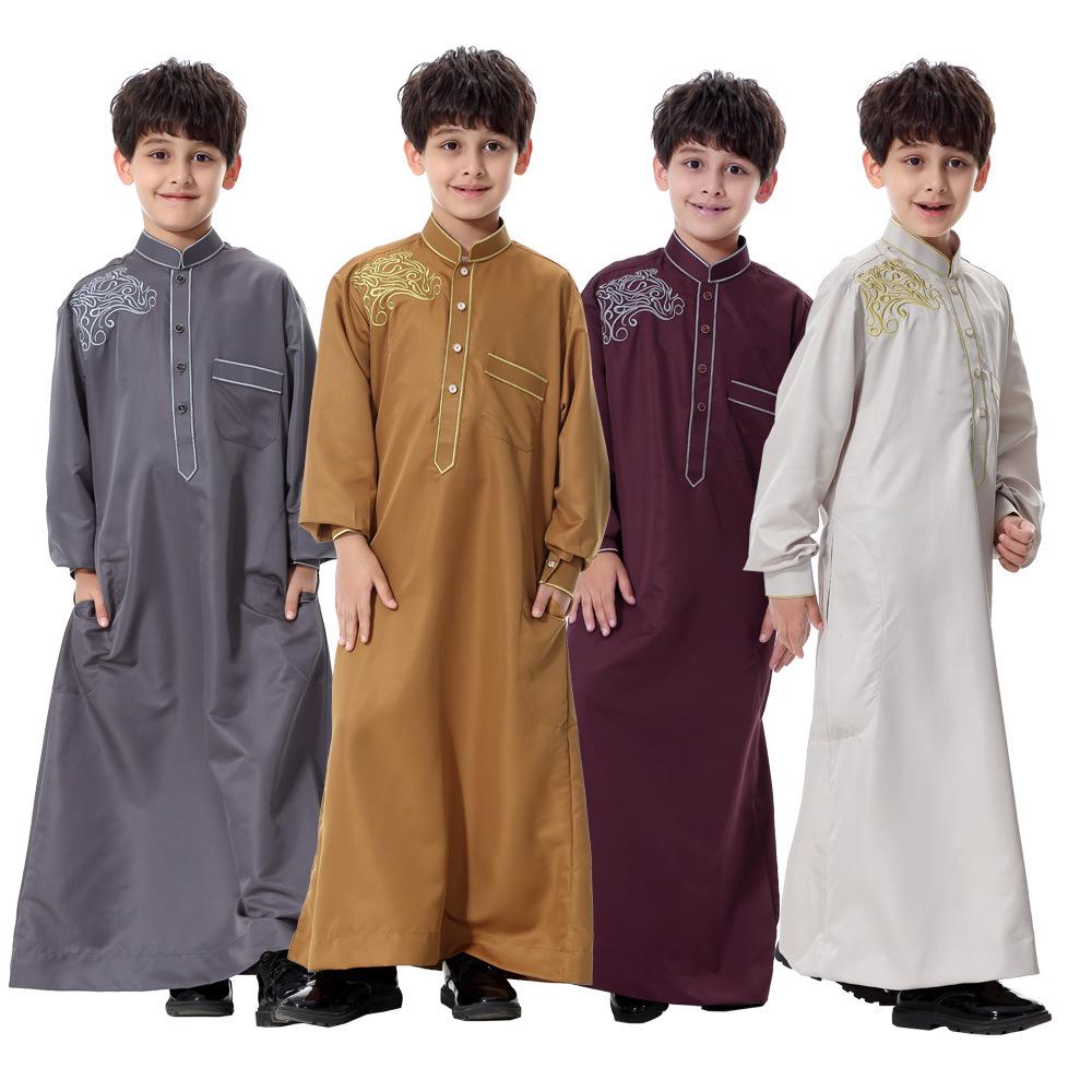 Children Pakaian Muslim Jubahs Muslim Arab Anak Laki-laki Thobe Thawb Caftan-Internasional