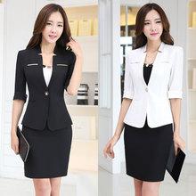 职业套装女夏工作服立领中袖黑色小西装女外套正装西服美容师套装