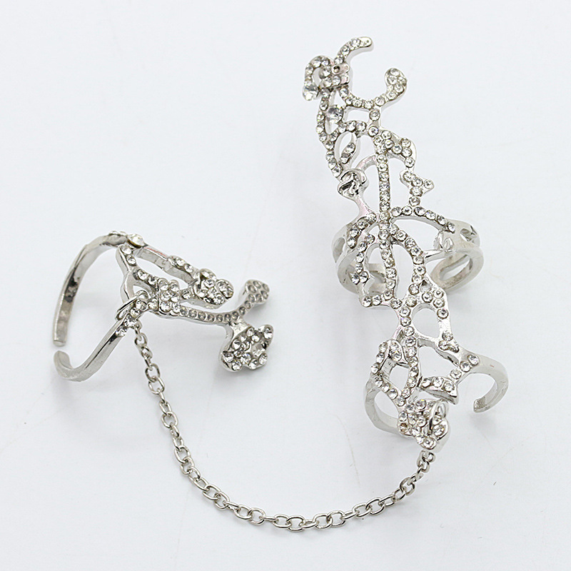 Fashion rings for women one-piece chain ring cutout diamond rose flower opening adjustable ring NHDP203046