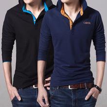 秋季男装青年男士长袖t恤翻领潮流POLO衫男学生体恤打底衫上衣服