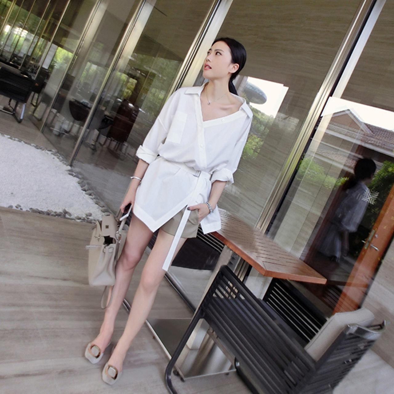 秋款女装2020新款明星同款套装裤露肩连衣裙白色时尚中长款衬衣潮