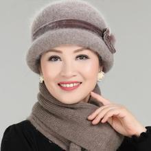 冬天中老年女士帽子妈妈帽保暖帽子秋季中年人女帽毛线帽老人盆帽
