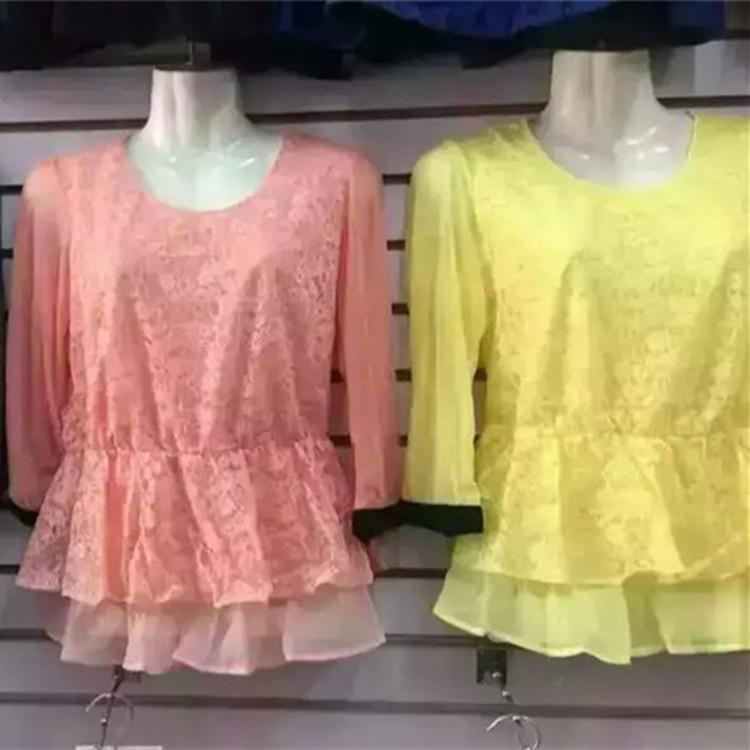 跑江湖春夏季热销女士打底衫批发 女装蕾丝打底衫 女士T恤衫批发