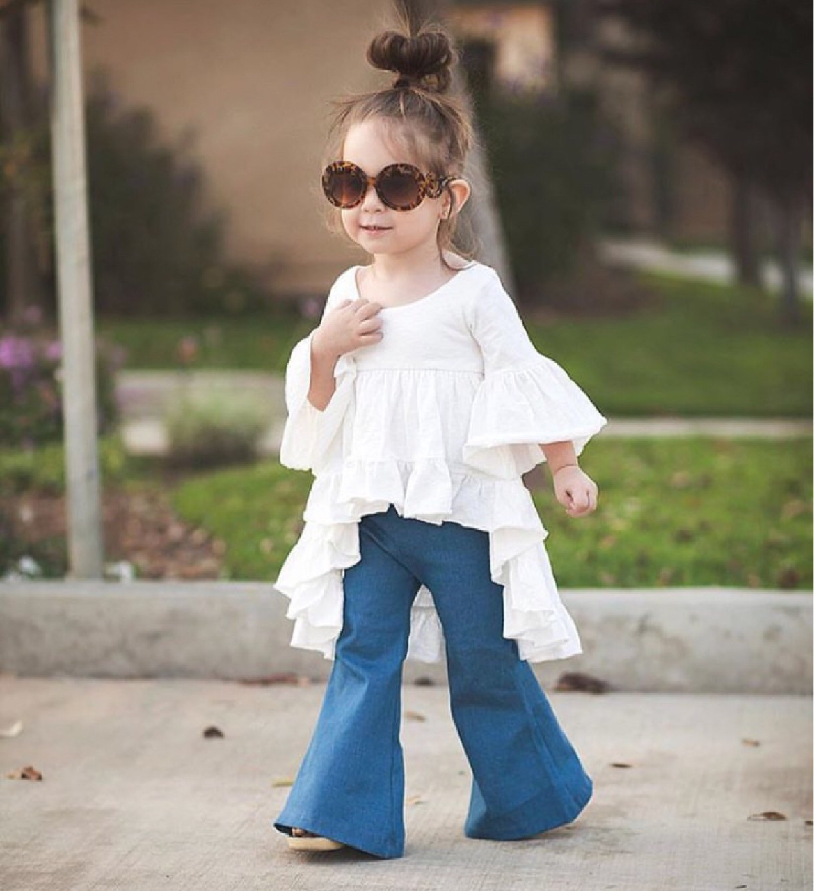 9de02ad989a7 2pc Toddler Kids Baby Girls Outfits Cotton tops+Denim Flared pants ...
