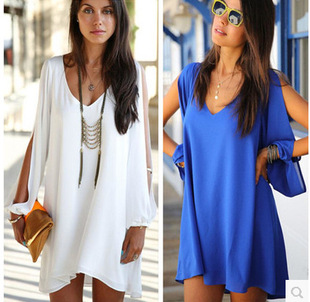 A large number of stock Europe and the United States v-neck long-sleeved chiffon plus size casual dress