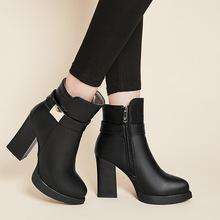 一件代发复古皮带扣尖头罗马靴秋冬短筒马丁靴粗跟高跟外贸靴S399