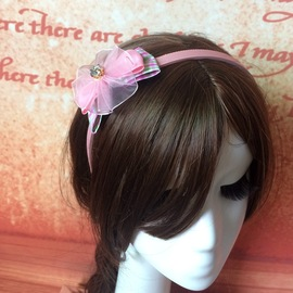 Imported children's hair ornaments, cloth, art bud yarn, zircon bow, toothed hair hoops, fashionable girls' decorative headbands