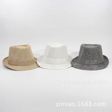 英伦爵士帽礼帽韩版亚麻礼帽女卷边情侣 纯色户外沙滩帽外贸帽子